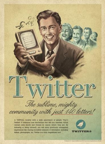 Así sería la publicidad de Twitter en los años 50