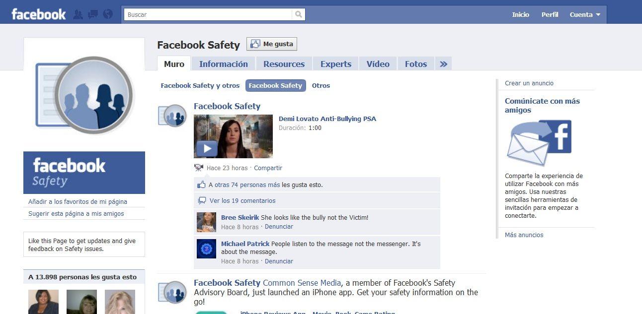 Facebook abre una página para informar sobre seguridad