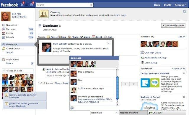 ... imagen de lo que será el nuevo Facebook Groups, con el chat grupal
