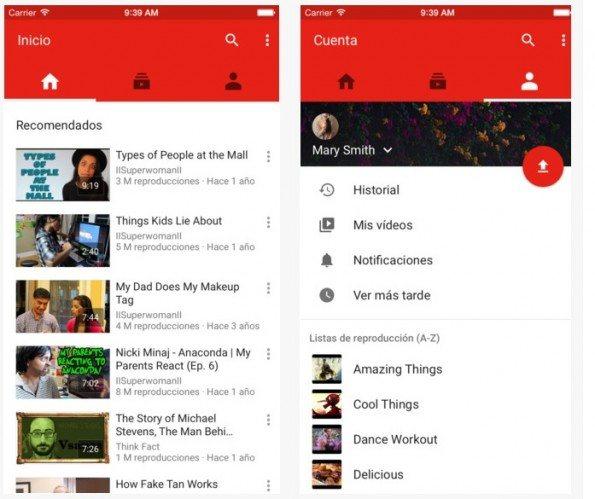 nueva app youtube ios