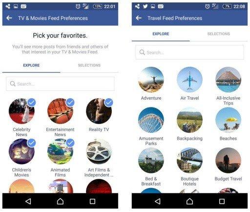 Facebook prueba la introducción de timelines temáticos en la app