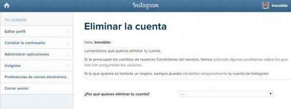 Cómo eliminar tu cuenta de Instagram desde la página web