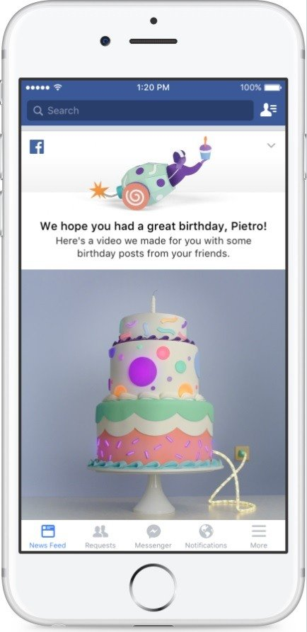 Facebook lanza una nueva funcionalidad: los vídeos de cumpleaños