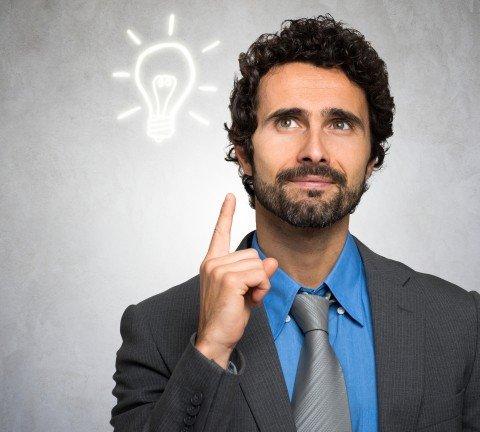 Business Idea concept: businessman having a good idea
