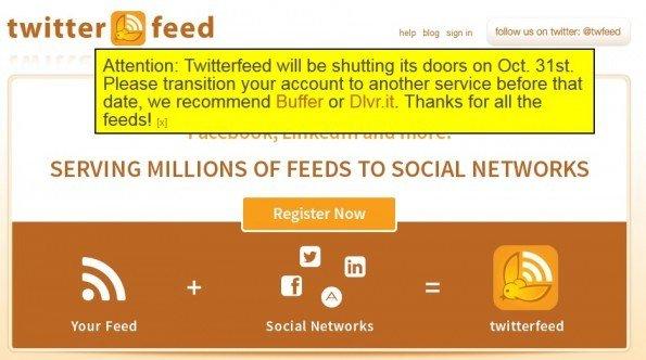 ¡Cierra Twitterfeed, app propiedad de Bitly, el 31 de octubre!