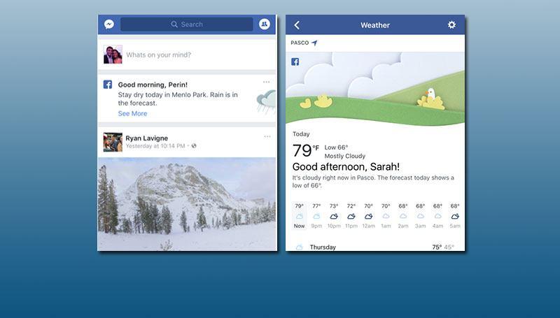 Facebook incorpora información con la previsión del tiempo