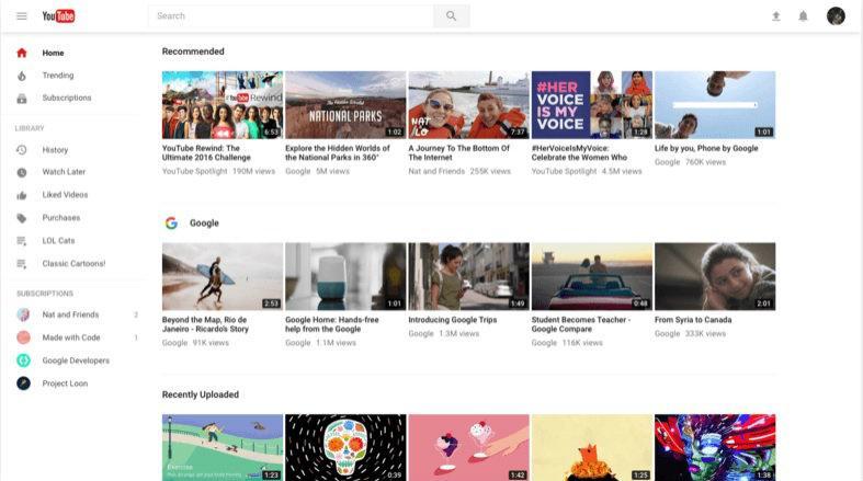 Así será el nuevo diseño de la plataforma de vídeos YouTube