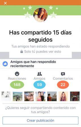 Facebook felicita a los usuarios que publiquen todos los días