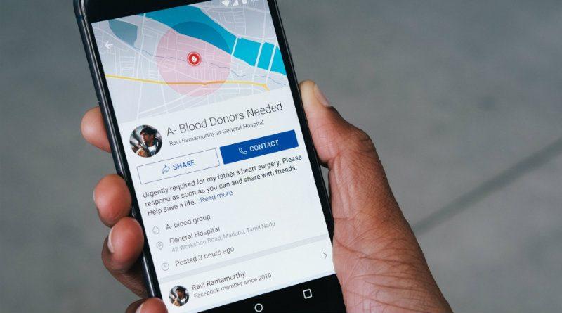 Facebook lanzará una función para animar a donar sangre