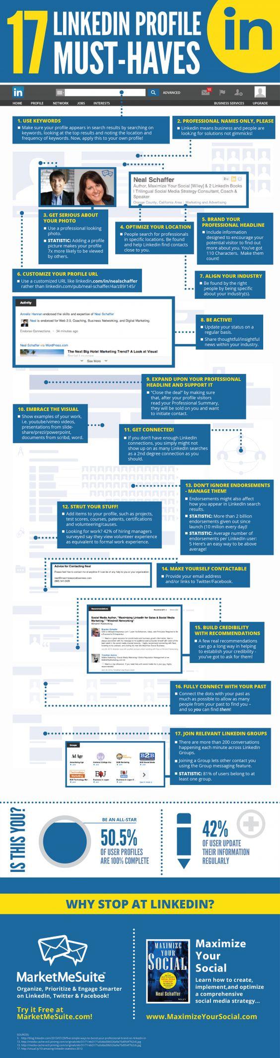 17 cosas que debe tener tu perfil de LinkedIn [Infografía]