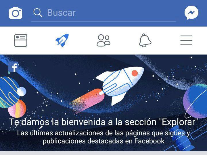sección explorar Facebook
