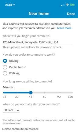 LinkedIn Conmute Time