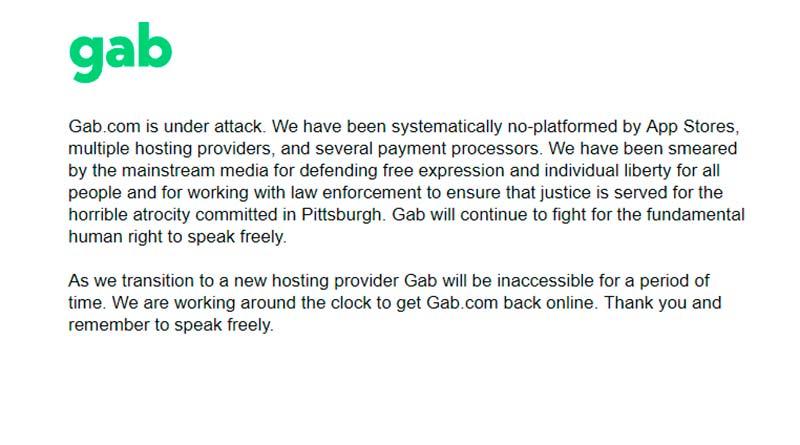 Mensaje de Gab