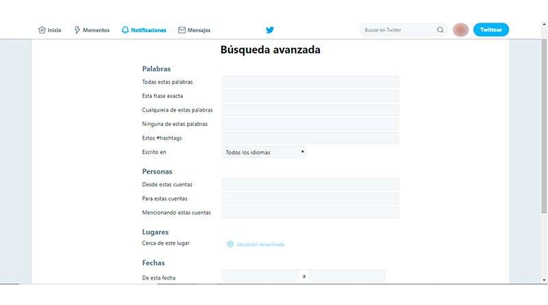 Barra de Búsquedas avanzadas Twitter