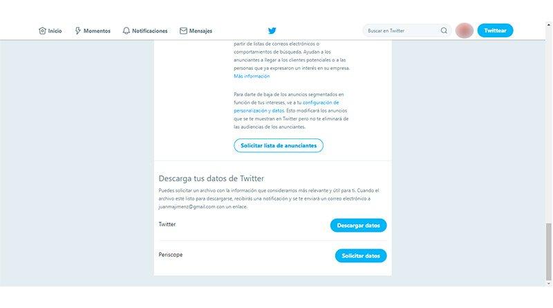 Datos de perfil de Twitter