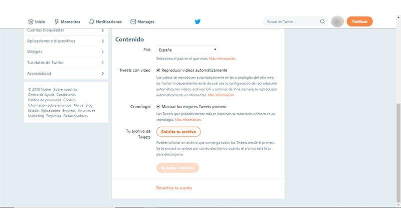 Datos de perfil Twitter