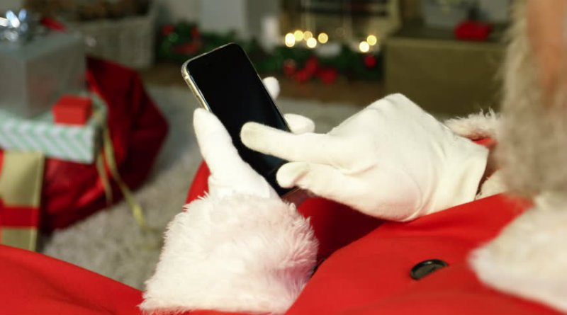 Santa Claus visita virtual video chat