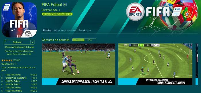 Aplicación móvil de Fifa