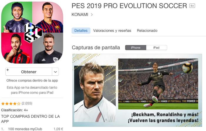 Juego para móviles Pro Evolution Soccer