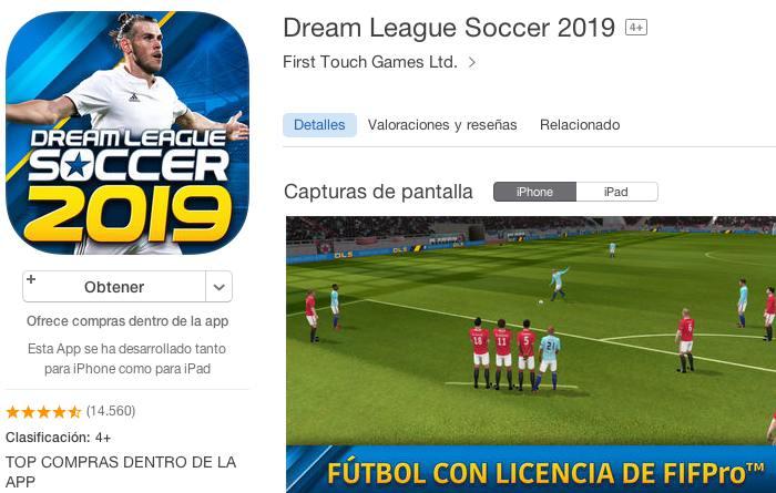 Juego para móvil Dream League Soccer