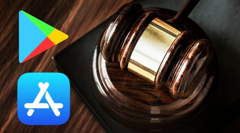 Logos de la Play Store y App Store junto a un mazo