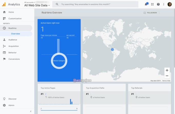 Pantallazo de modificación en Google Analytics