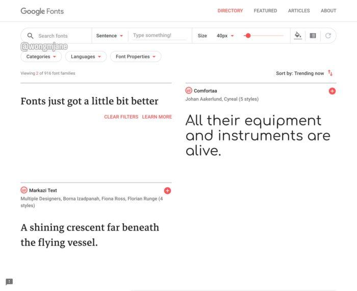 Rediseño de la plataforma de Google Fonts