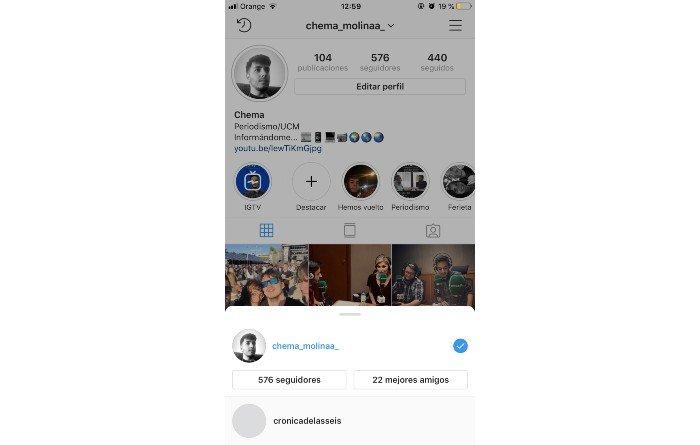 Instagram cambiar cuenta