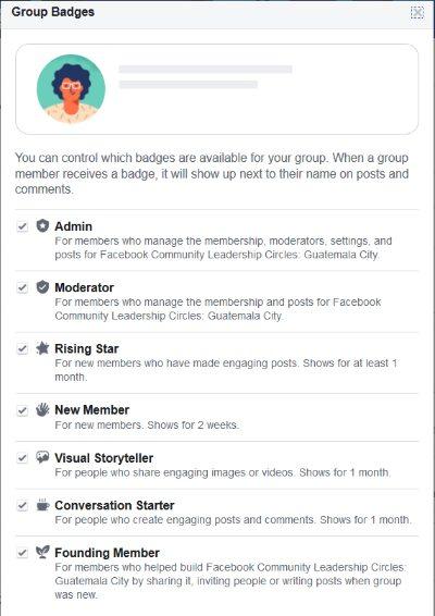 insignias Páginas Facebook