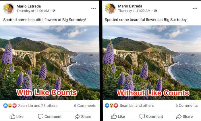 Facebook esconde Likes