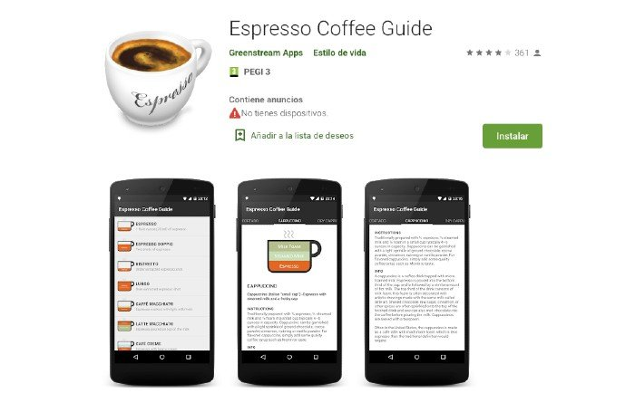 Espresso Coffe Guide app