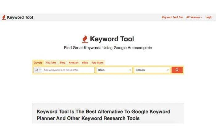 keyword tool plataforma