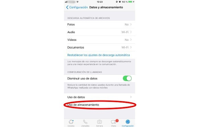 Almacenamiento WhatsApp