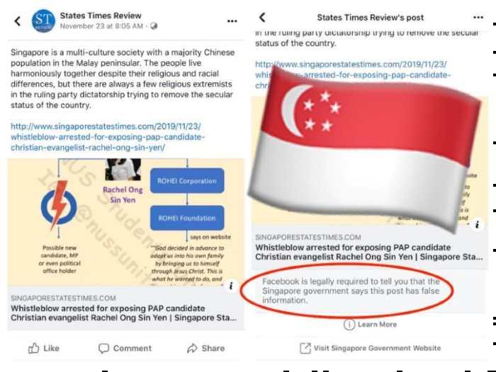 Facebook post singapur