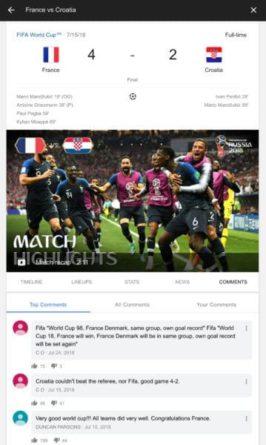 Google permite realizar comentarios en vivo en eventos deportivos