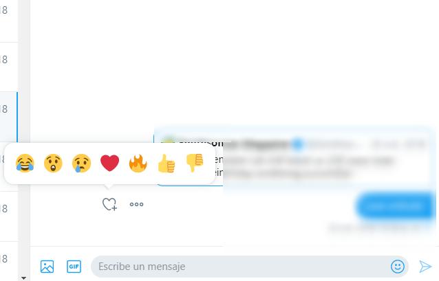 Emojis de reacción en Twitter