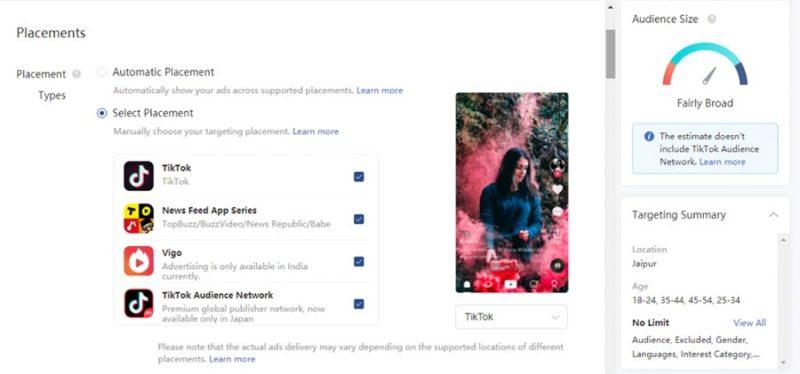TikTok publicidad en la plataforma