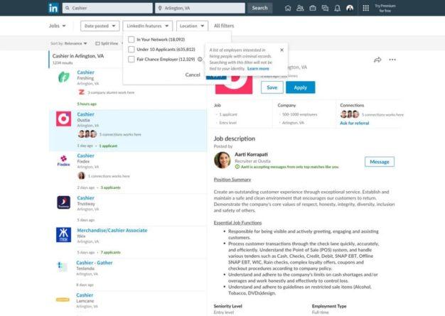 Filtro de oportunidad justa de LinkedIn