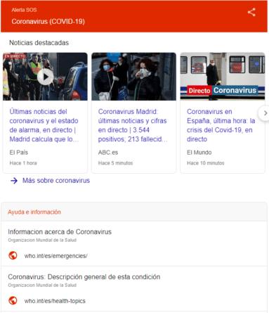 Página Alerta SOS Google