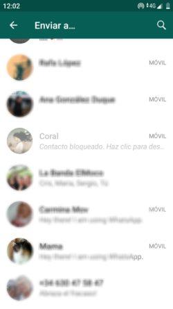 Pantalla de chats contactos bloqueados