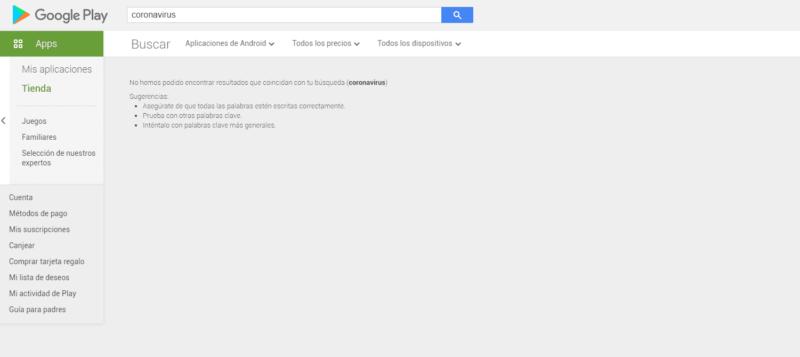 Google Play bloquea la palabra coronavirus