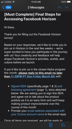 Email de Facebook para Horizon