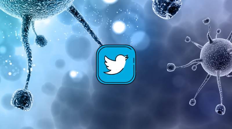 Twitter sobre fondo de virus