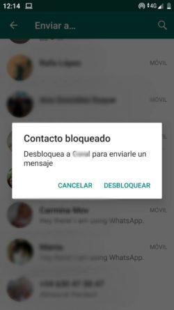 WhatsApp desbloquear contactos