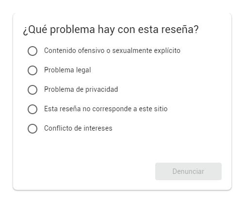 Cuestionario Google My Business