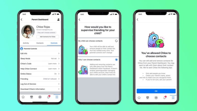 Facebook Messenger Kids amigos supervisados