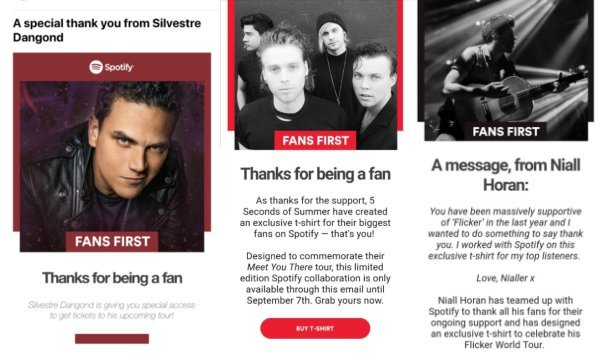 Fans First Spotify correo electrónico