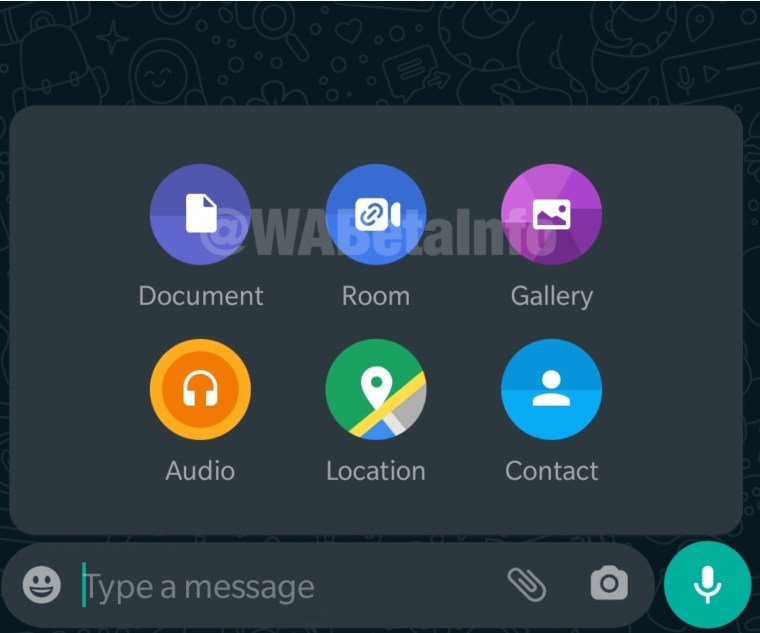 Menú Messenger room whatsApp