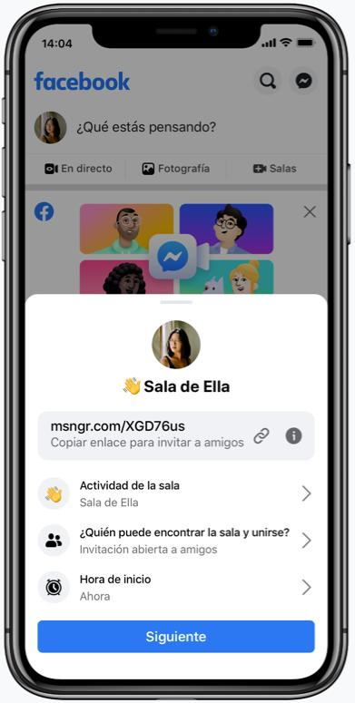 Messenger de Facebook Rooms
