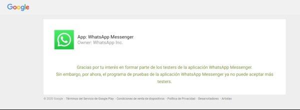 Pruebas cerradas beta tester WhatsApp